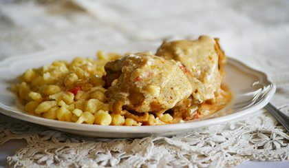 "Family recipes: Hungarian Chicken Paprikash with ""Nokedli"""