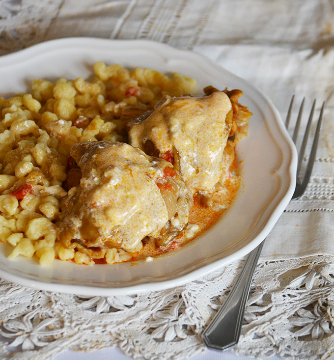 """Family recipes: Hungarian Chicken Paprikash with """"Nokedli"""""""